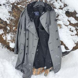 Grey Burberry Nova Check Trench Coat, wool lining